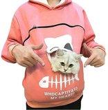 Trui met buideltje voor je kat roze maat L_