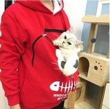 Trui met buideltje voor je kat rood maat M_