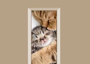 Deursticker knuffelende katten