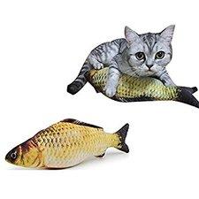 Catnip vis katten speelgoed (20cm) geel