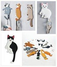 Wandhaakje kat zwart/wit