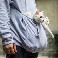 Trui met buideltje voor je kat, Maat L