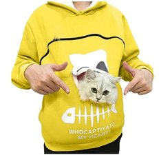 Trui met buideltje voor je kat geel maat S