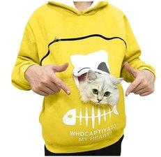 Trui met buideltje voor je kat geel maat XXL