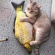 Catnip vis katten speelgoed (40cm) geel