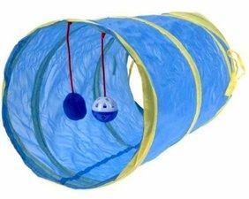 Katten speel tunnel met balletje blauw