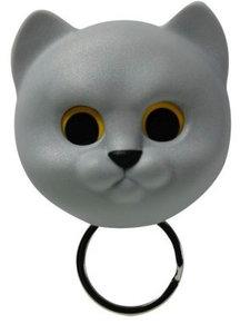 Qualy Neko kat sleutelhouder grijs