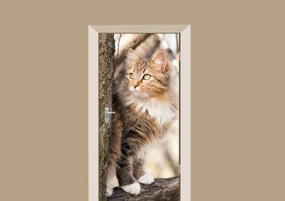Deursticker kat in de boom