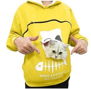 Trui met buideltje voor je kat geel maat XL