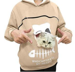 Trui met buideltje voor je kat beige maat M