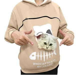 Trui met buideltje voor je kat beige maat S
