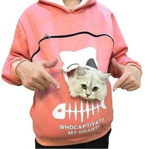 Trui met buideltje voor je kat roze maat M