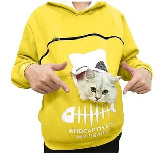 Trui met buideltje voor je kat geel maat M