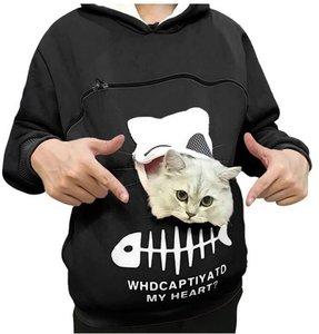 Trui met buideltje voor je kat zwart maat XXL